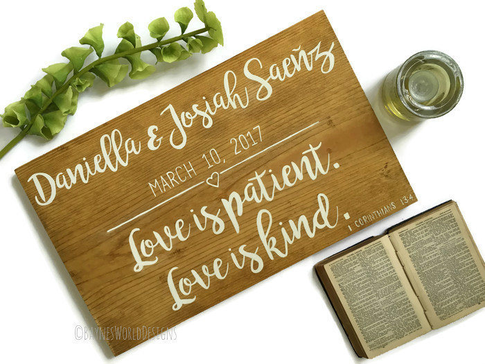 Love Is Patient|Love Kind|1 Corinthians 134|Personalized Wedding Gift|Bridal Shower Gift|Anniversary|Bible Verse Art|Wood Sign