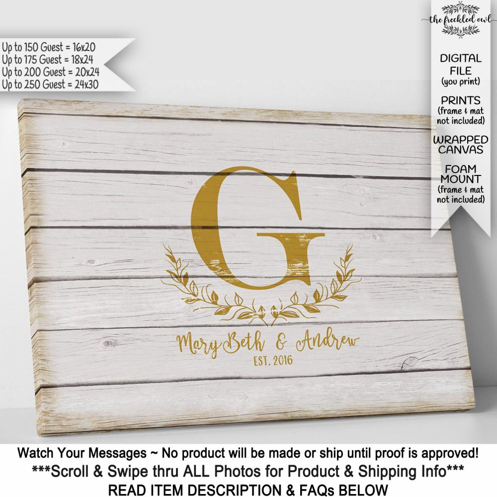 Rustic Wedding Guest Book Alternative, Guestbook Canvas Sign, Faux Wood, Initial Country Barn Poster, Monogram, 250 Signatures