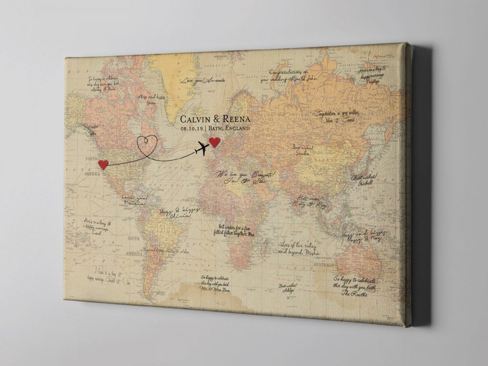 Sale 50% Off Canvas Guest Book, Heart Plotting Vintage Rustic World Map Destination Wedding, Travel Themed Guestbook - Cgb235