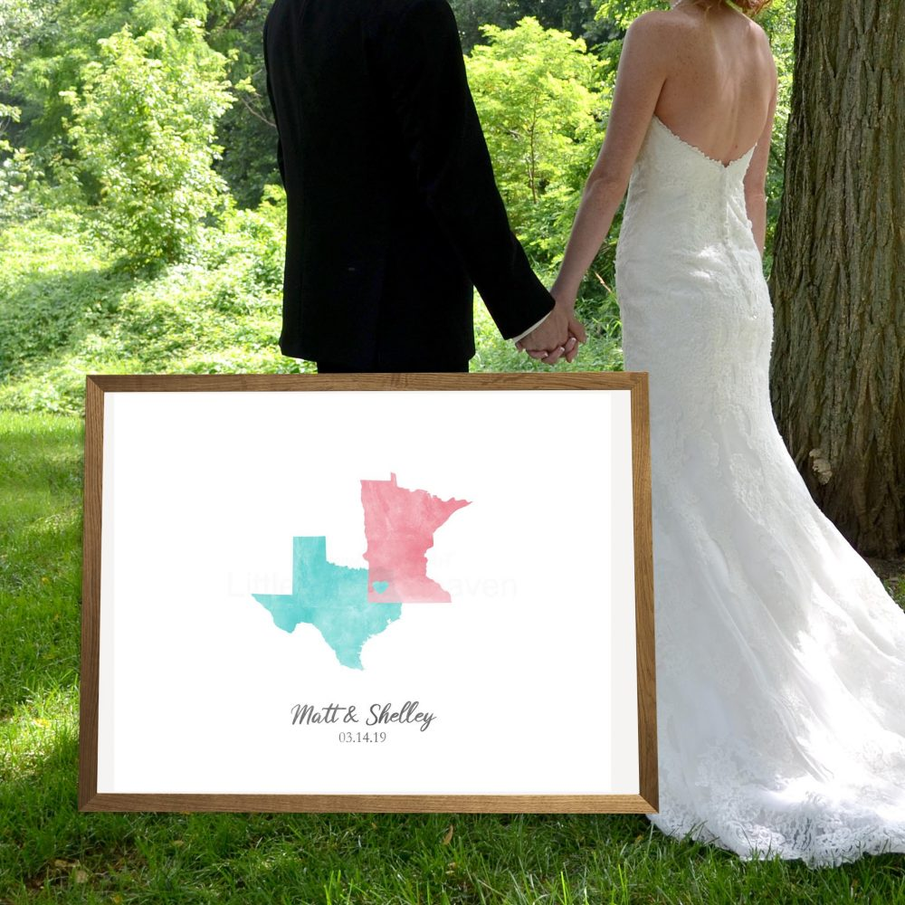 Wedding Guest Sign in Two States Love Canvas, Guestbook Wedding, Destination Watercolor Guestbook, Map States, Personalized