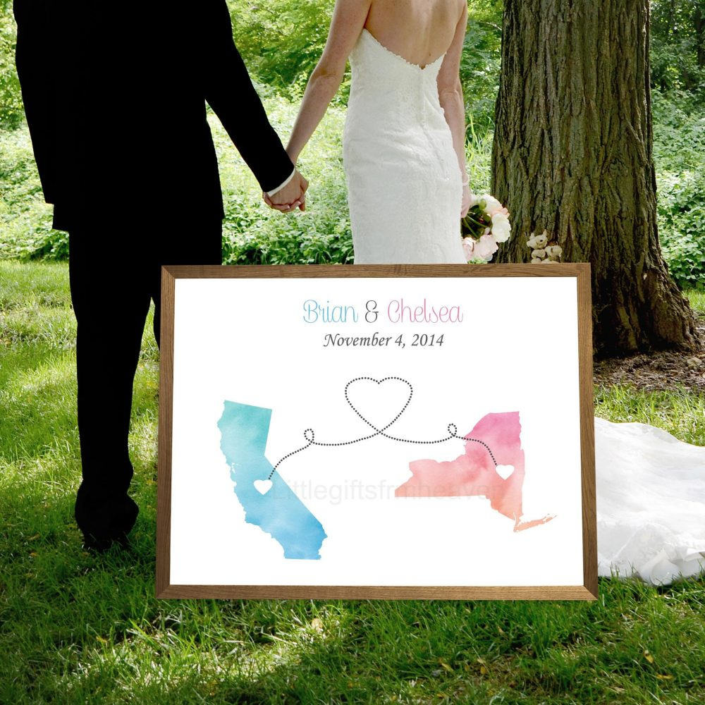 Alternative Wedding Guestbook Sign in Print, Bridal Shower Guest Book Canvas, Watercolor Map States Ideas For Couple