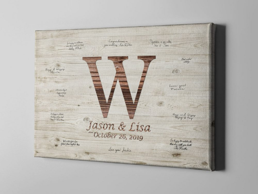 Sale 50% Off Canvas Guest Book, Rustic Monogram Wedding Wood Signature Guestbook, Anniversary Gift Ideas For Couple - Gb188