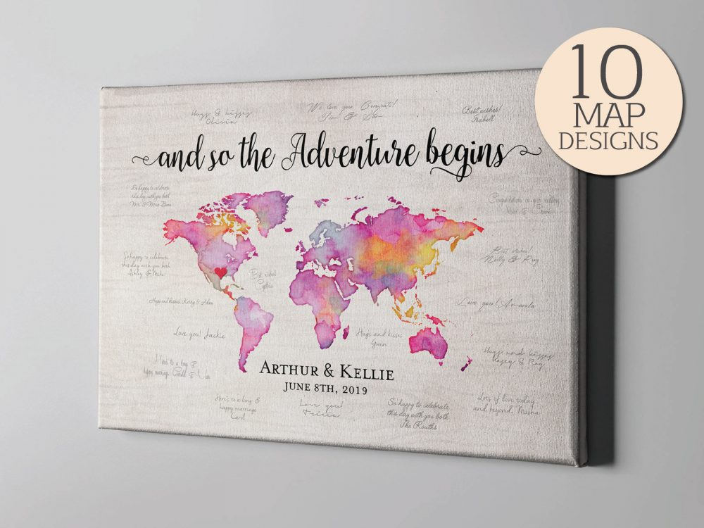Sale 50% Off Canvas Guest Book, Watercolor World Map Signature Guestbook, Destination Wedding Travel Themed Guestbook Memento - Cgb219