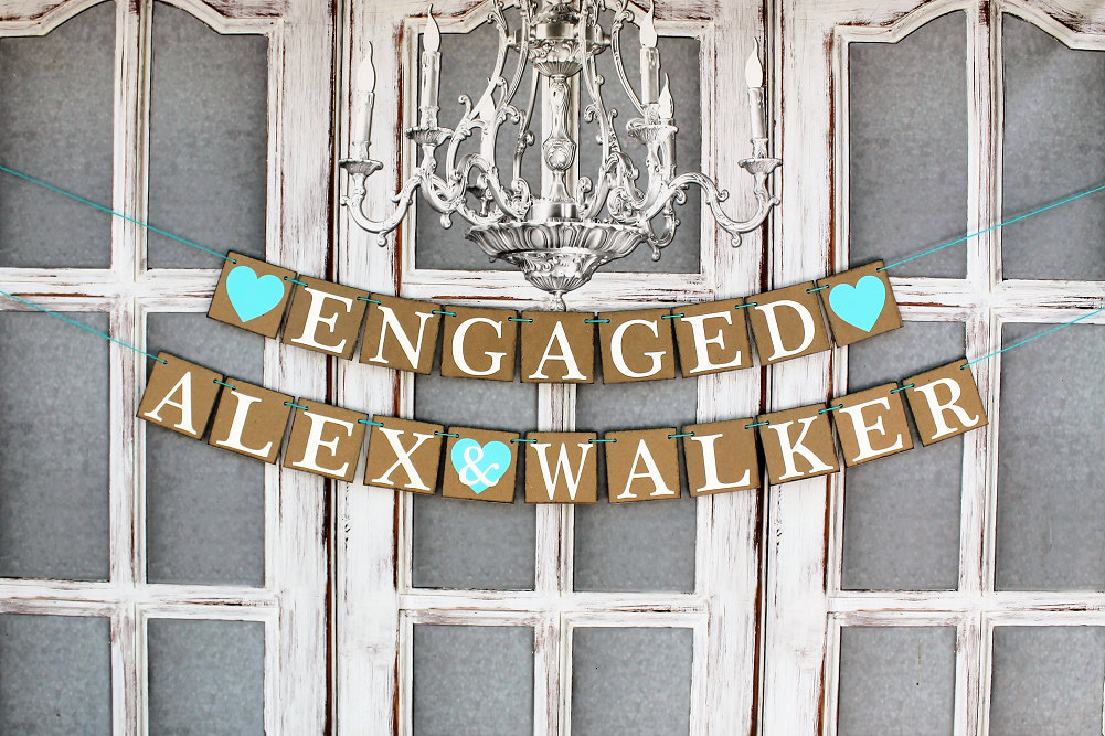 Engagement Party Decor, Custom Personalized Name Banners, Aqua Color Wedding, Rustic Signs, Engaged Photos