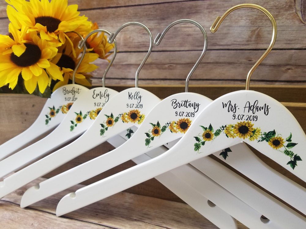 Wedding Hangers Set Of 5, Bride Hanger, Bridesmaid Gift Hangers, Sunflower Theme, Personalized Dress Gown