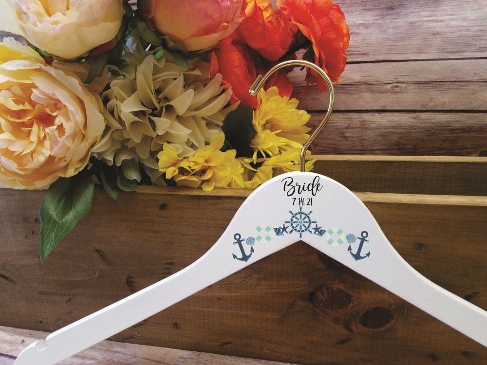 Nautical Wedding Hanger, Beach Wedding, Bride Bridesmaid Gift Hangers, Dress Gown