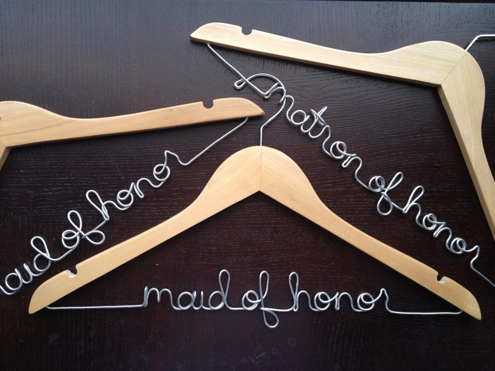 Bridesmaids Hangers Set, Maid Of Honor Gift To Bride, Bridesmaid From Dress Hanger, Name Wedding