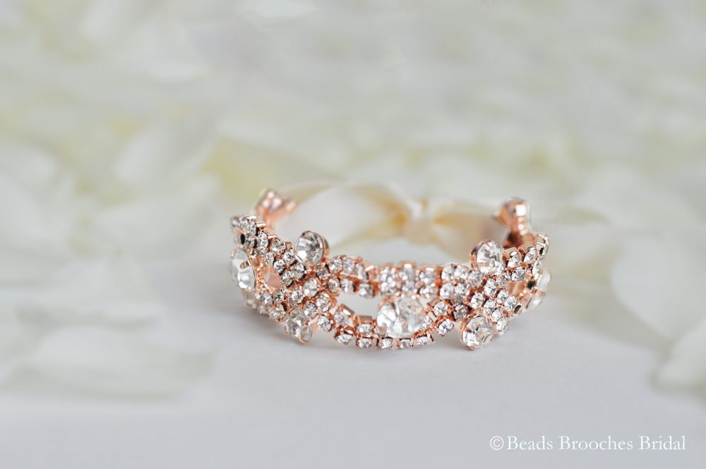 Flower Girl Bracelet Rose Gold, Rhinestone Bracelet, Crystal Gold Silver Girls Wedding Gift