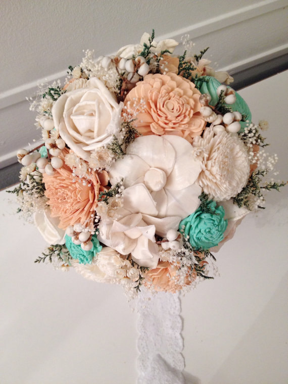 Peach, Mint Wedding Bouquet Made With Sola Flowers - Choose Your Colors Lace Custom Alternative Bridalbouquet Bridesmaids Bouquet