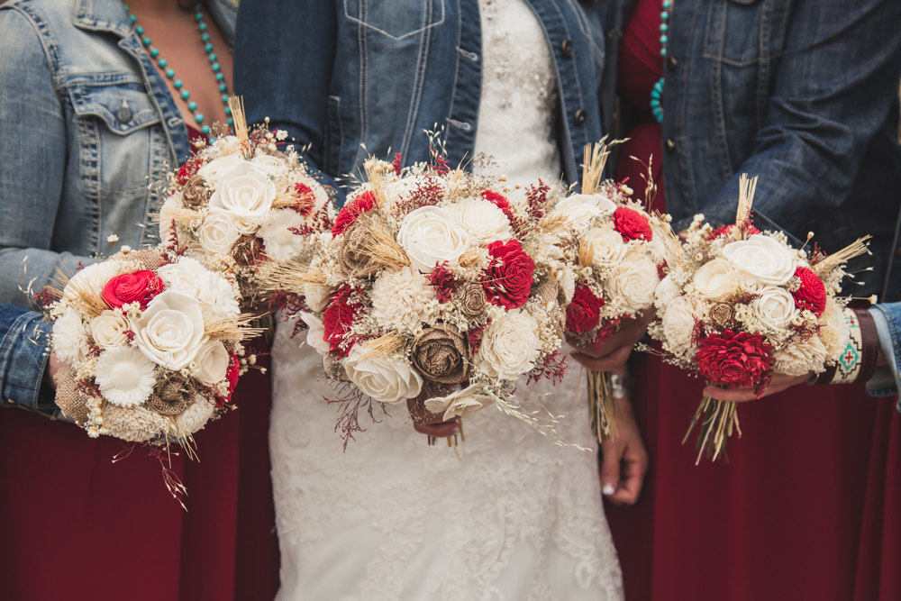 Dark Red, Burlap, Ivory Wedding Bouquet Made With Sola Flowers - Choose Colors Custom Alternative Bridal Bouquet Bridesmaids