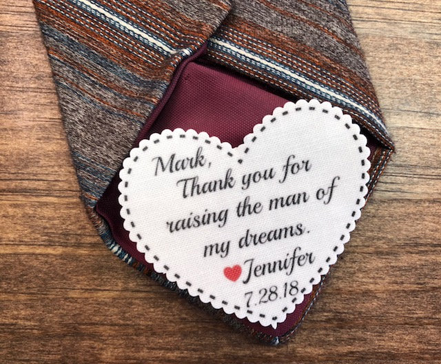 """Tie Patch - Father Of The Groom, Bride, Iron On, Sew 2.25"""" Wide Heart Shaped Patch, Little Red Heart, Personalized Patch"""