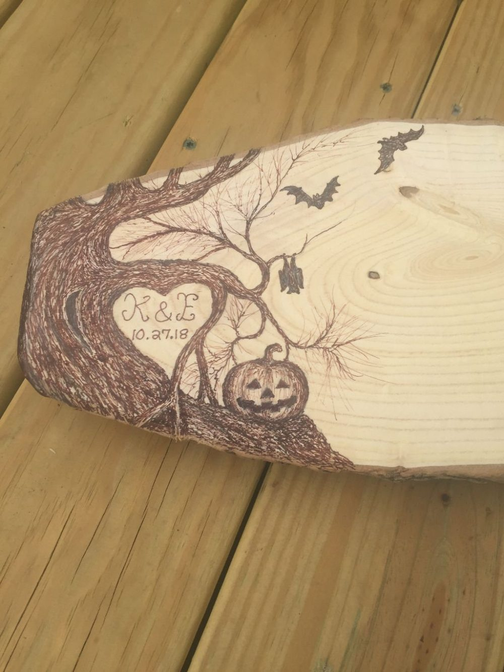 Extra Large Halloween Wedding Guest Book - Rustic Wood Slice Personalized Unique Anniversary Reunion