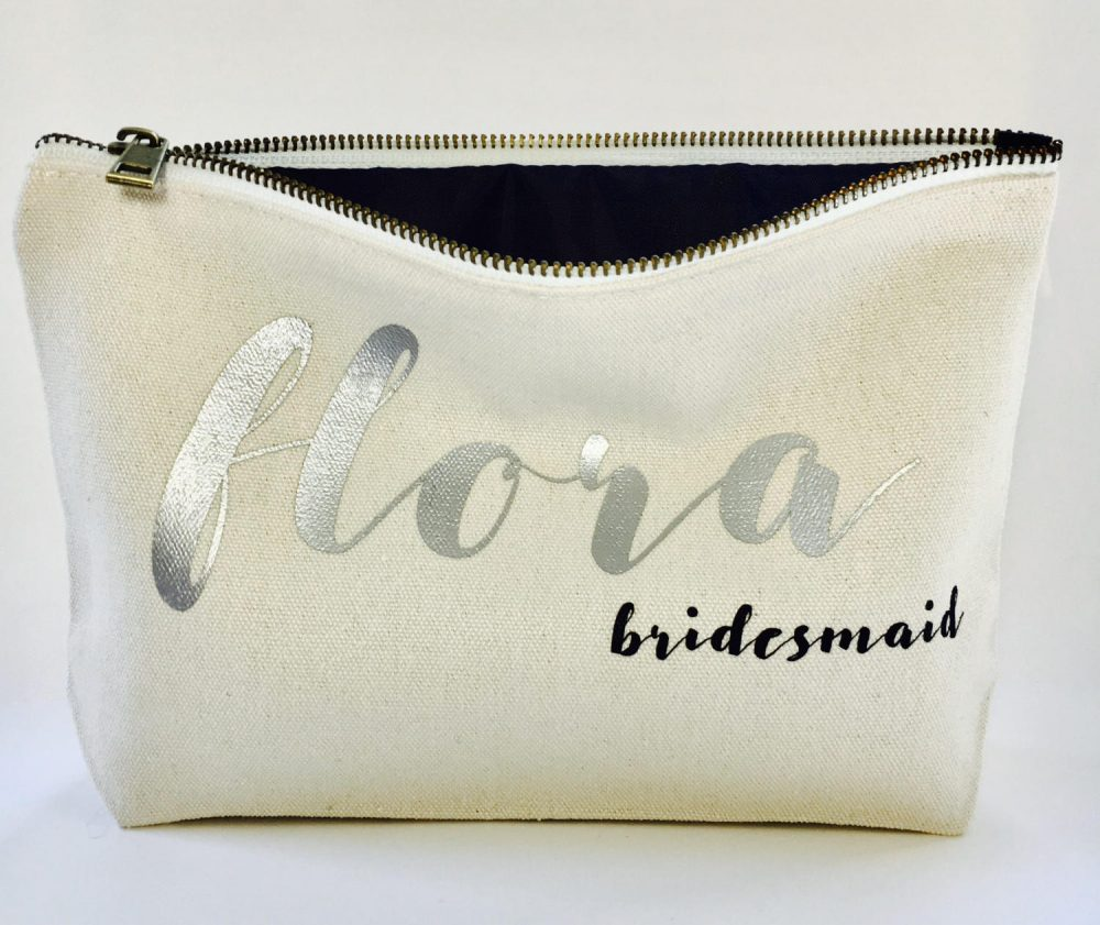 Personalized Wedding Makeup Bag- Canvas Cosmetic Gifts For Bridesmaid- Wedding Favors- Bridal Gift - Zipper Pouches