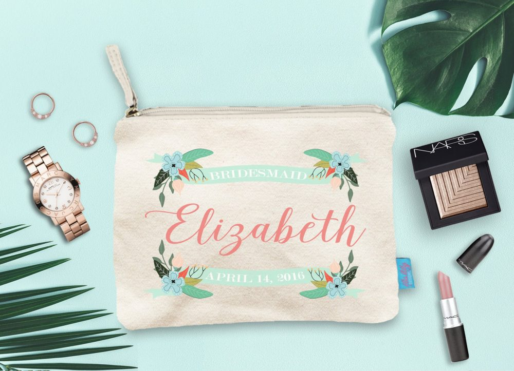 Bridesmaid Makeup Bag, Wedding Day Party Cosmetic Pouch, Gift, Canvas Favor
