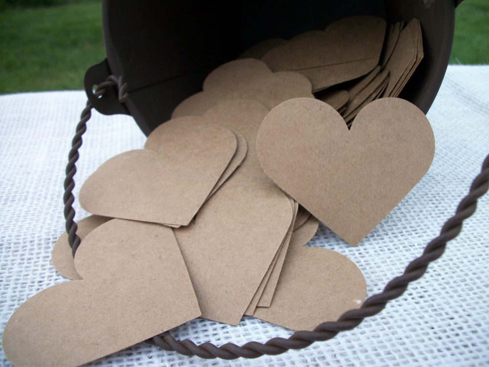 "Kraft Heart Cards 200 Blank Diy Paper Card Brown Advice Guest Book Hearts Wedding Place Cards - 2"" Inch Rustic Shabby Chic"