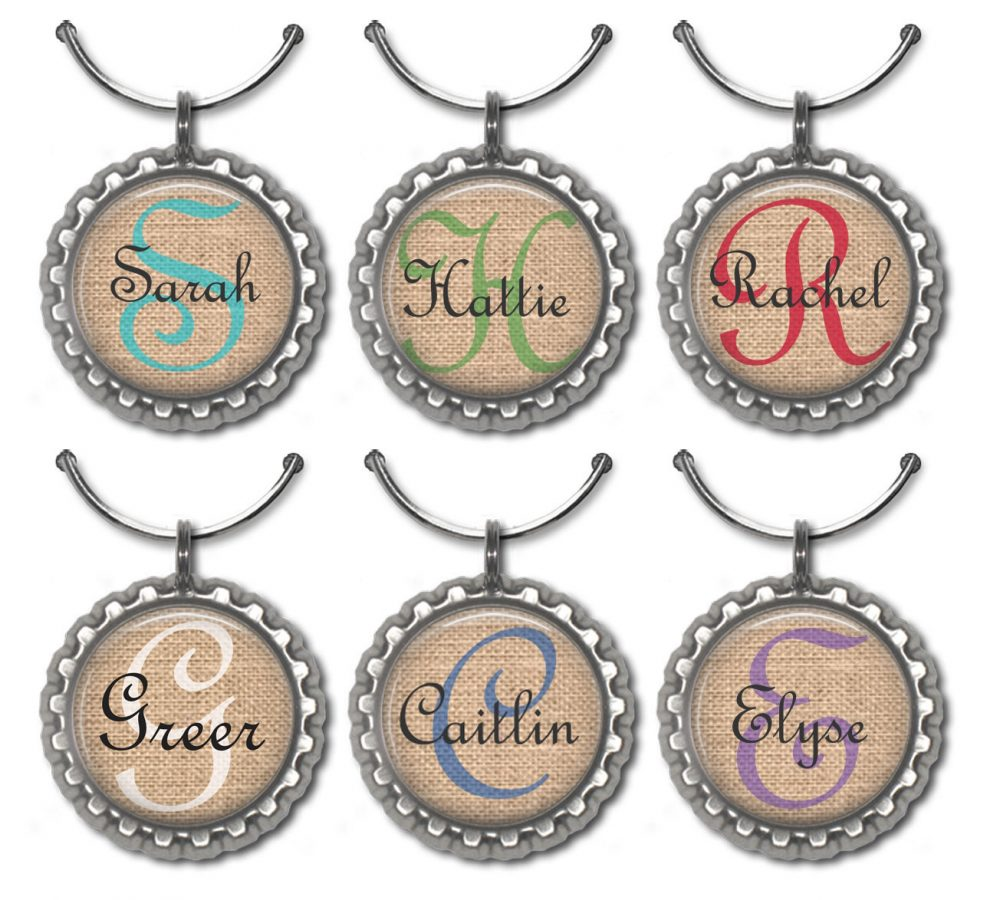 Custom Wedding Favors, Unique Bridal Shower Wine Charms, Personalized Initial, Rustic Place Cards, Name Drink Tags