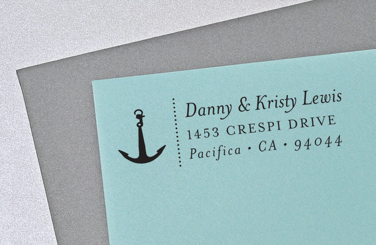 Custom Return Address Stamp, Nautical Wedding, Anchor Self Inking Wedding H107