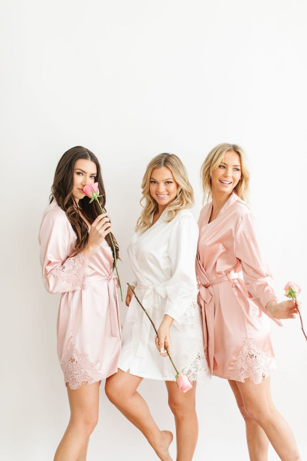 Bridesmaid Robes, Lace Robes With Lace, Gift, Robe, For Bridesmaids, Bridal Pink Wedding