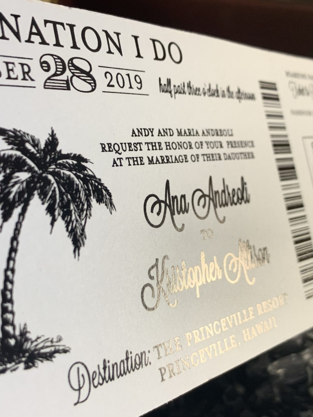 Black Foil Boarding Pass Invite. Beach Wedding Invitation. Destination Wedding Save The Date. Tropical Invitation