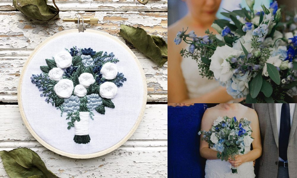 Wedding Bouquet Embroidery Keepsake Bouquet Portrait Embroidered Roses Bridal Embroidery Gift Memory Gift For Her
