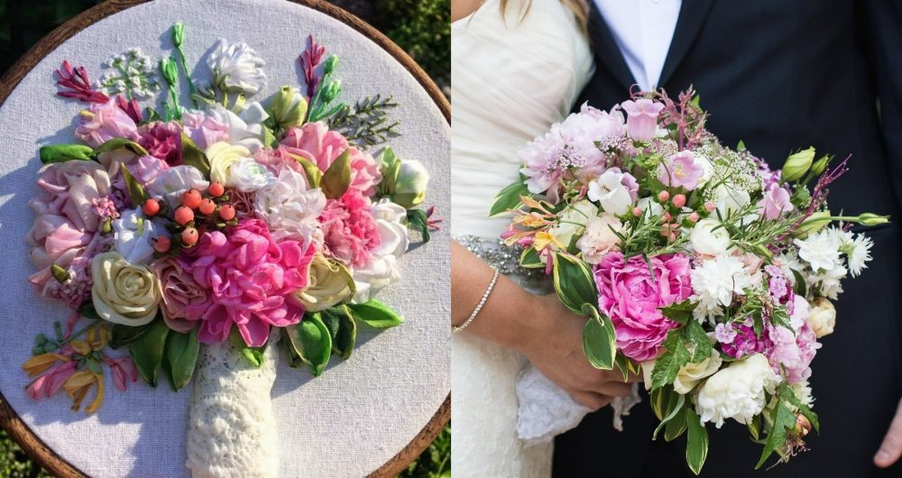 Wedding Bouquet Embroidery Bouquet Embroidery Custom Embroidered 4Th Anniversary Gift Her Linen