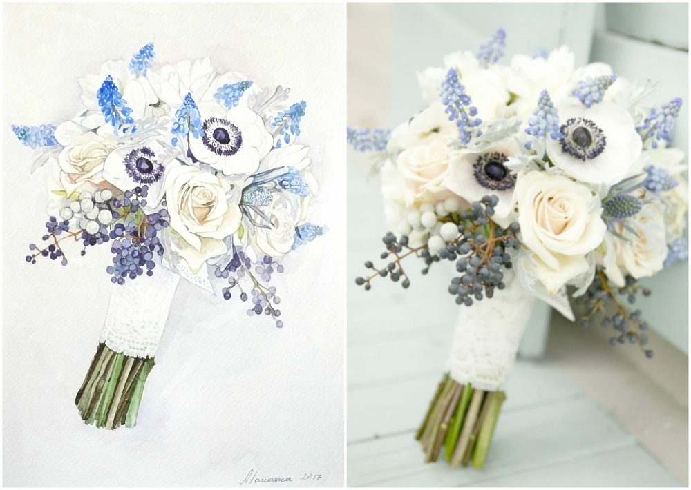 Custom Bridal Bouquet Painting Anniversary Gift Painting From Photo Original Watercolor For Her Wedding Bouquet