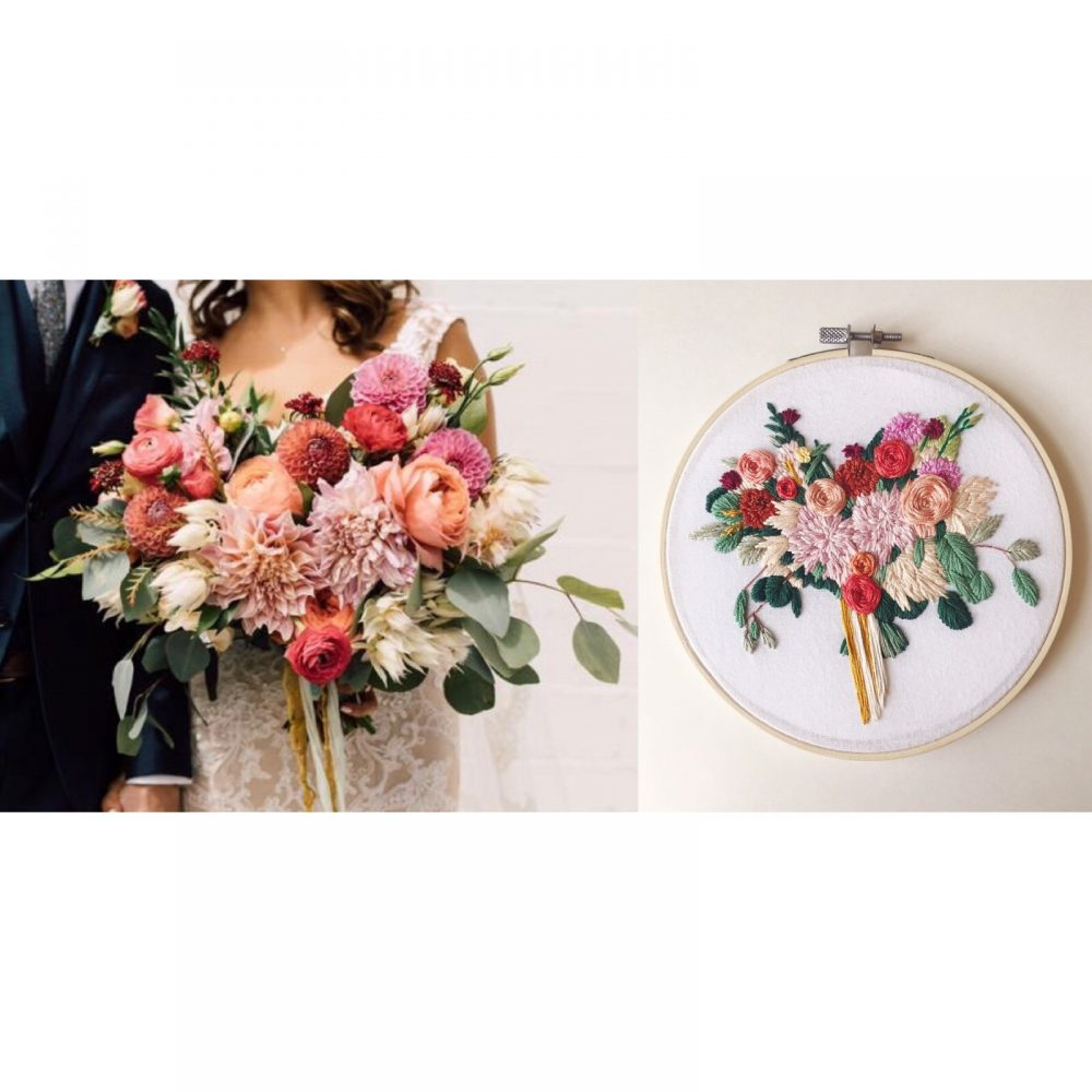 Wedding Bouquet Replica, Anniversary Gift For Wife, Embroidered Bouquet, Floral Her, Couple