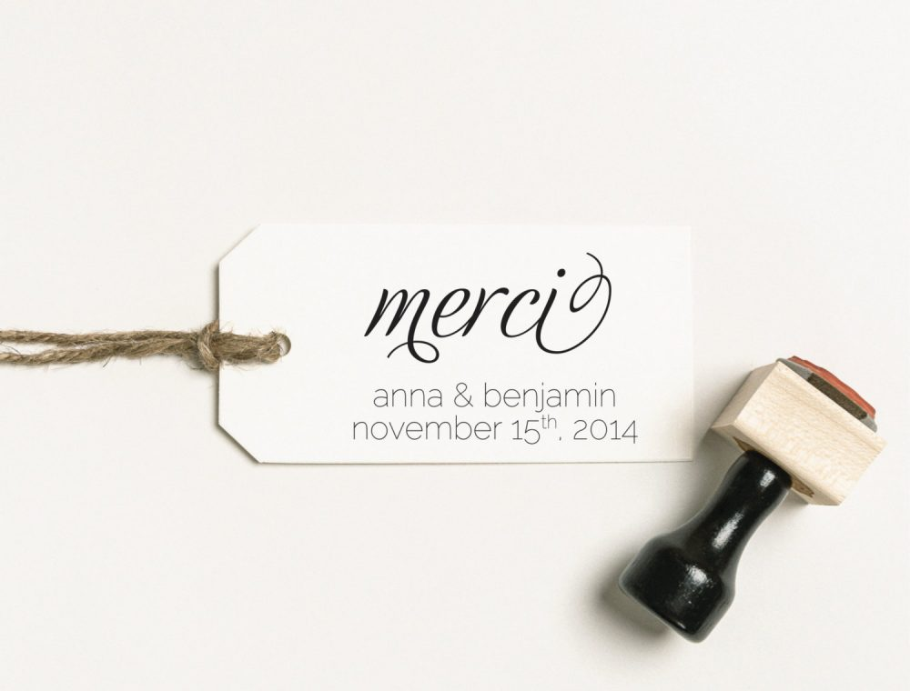 Merci Rubber Stamp, Thank You Favor Wedding Diy Invitation Invite | Sthan104 S.1