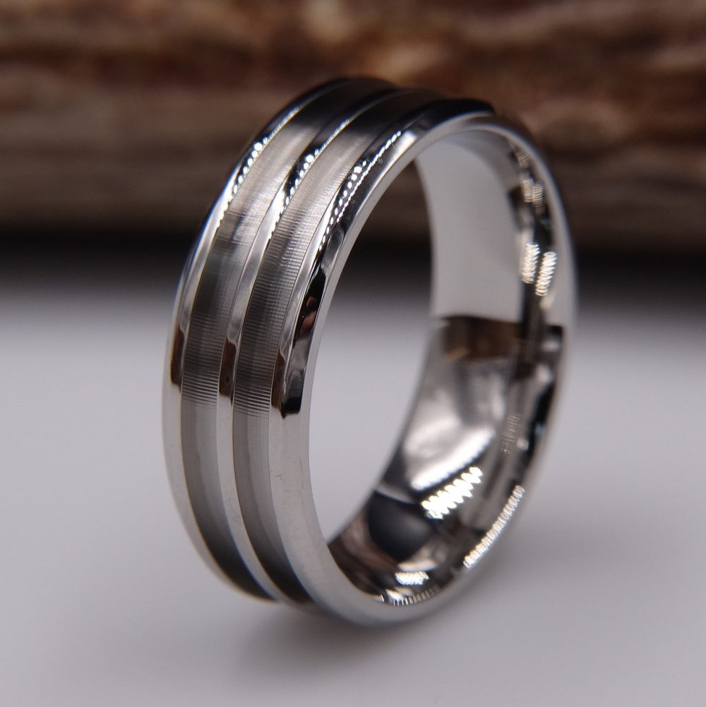 Stainless Steel Ring Double Channel Blank For Inlay