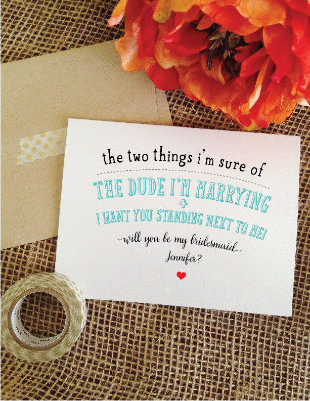 Set Of 5 Funny Bridesmaid Cards - Two Things Will You Be My Bridesmaid Maid Honor Dude Im Marrying