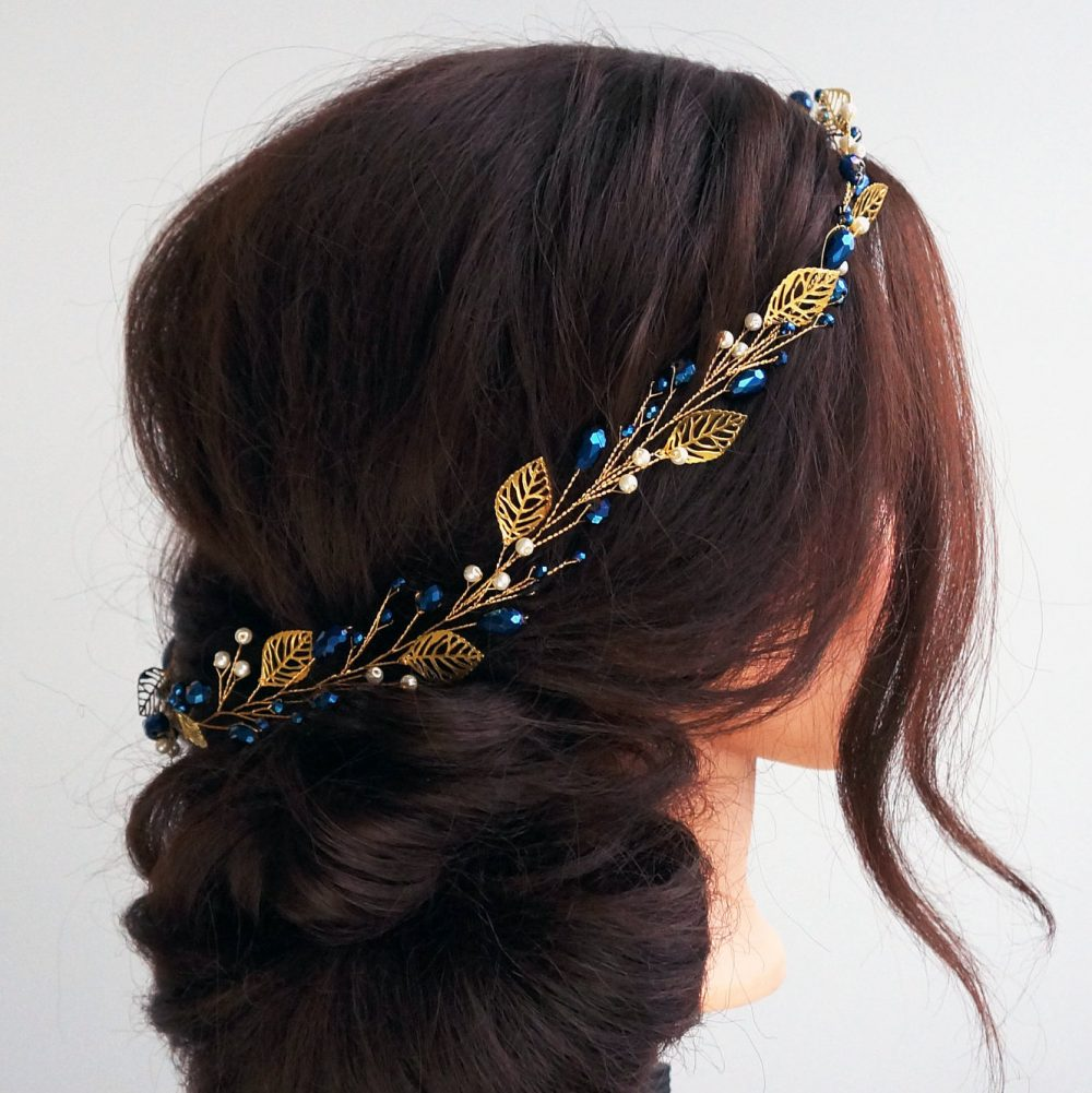 Bridal Hair Vine - Wedding Hair Vine - Gold Leaf Long Navy Blue Bohemian Bridal Headpiece-Hair Vine For Bride