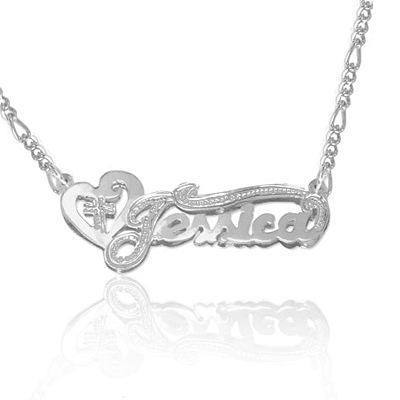 Heart and Cross Custom Name Jewelry Necklace in Sterling Silver