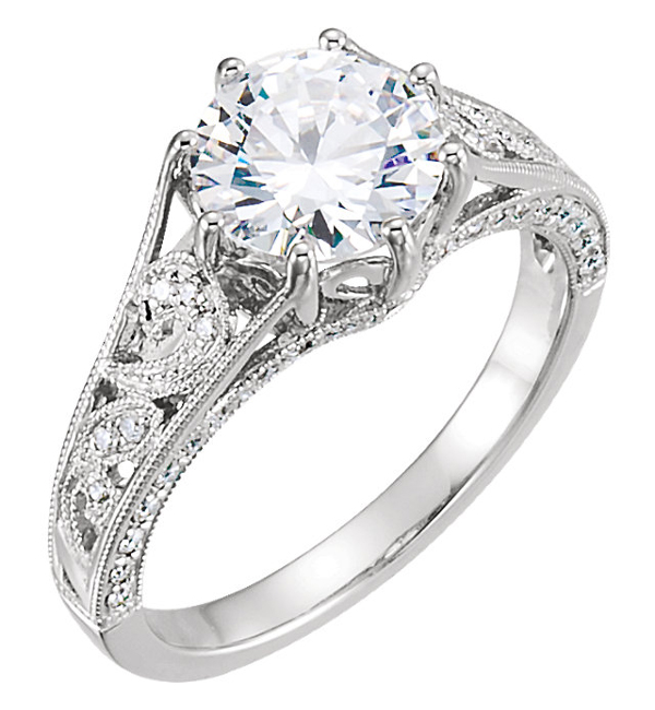 White Sapphire and Diamond Paisley Pattern Engagement Ring