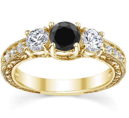 1 Carat Floral-Engraved Black and White Diamond Engagement Ring, 14K Yellow Gold