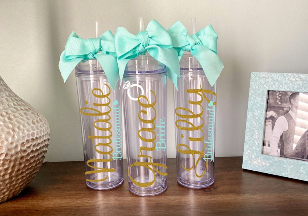 Bridesmaid Glitter Tumbler Personalized, Wedding Gift, Custom Favor, Bachelorette, Proposal Box, Bridal Party Cup, Name Bow Heart Ring