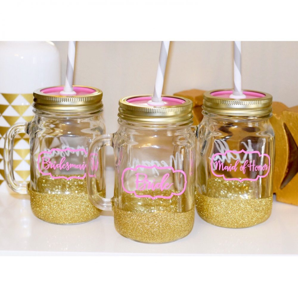 Bride & Bridesmaid Tumblers - Glitter Tumbler Cups Wedding Party Glasses Gift