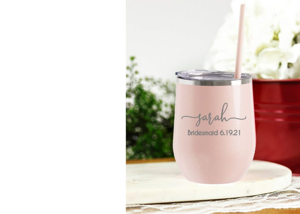 Wedding Party Cups - Tumblers Personalized Cup Glitter Wine Tumbler Bridesmaid Gift Will You Be My