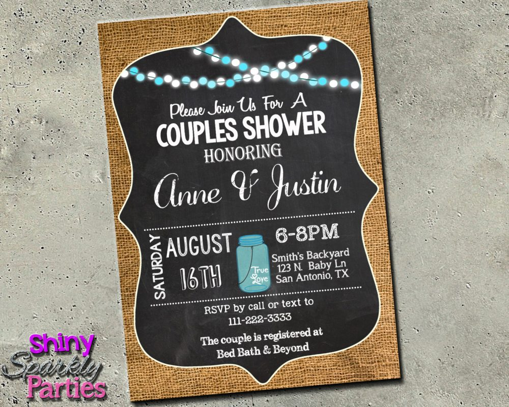 Couples Shower Invitation, Vintage Burlap Chalkboard Wedding Brunch, Mason Jar Invite, Engagement Rehearsal Dinner, Blue & White, Rustic
