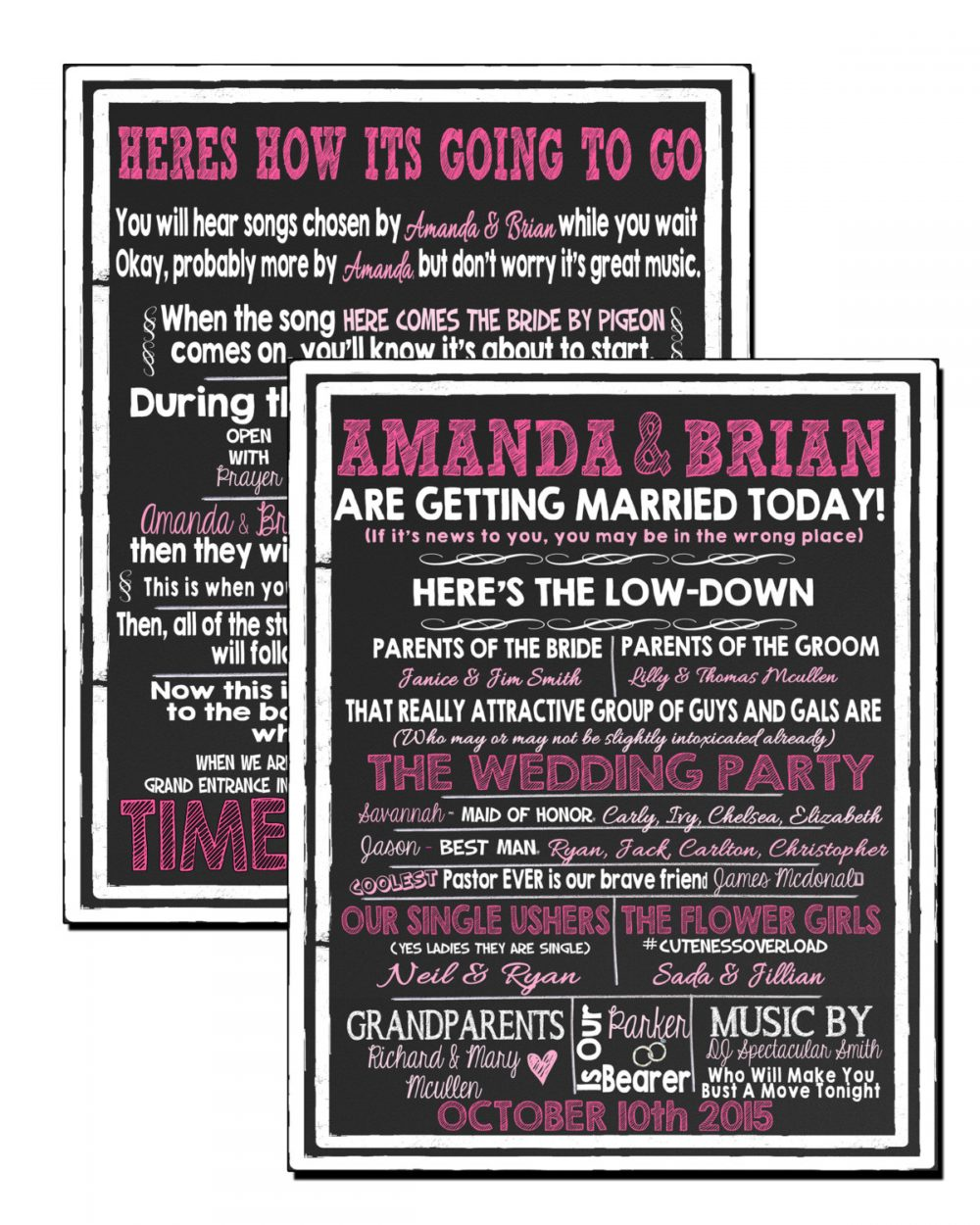 Unique Pink Wedding Programs, Funny Modern Signs To Amuse Guests & Make Them Laugh Id# Sgnwed01