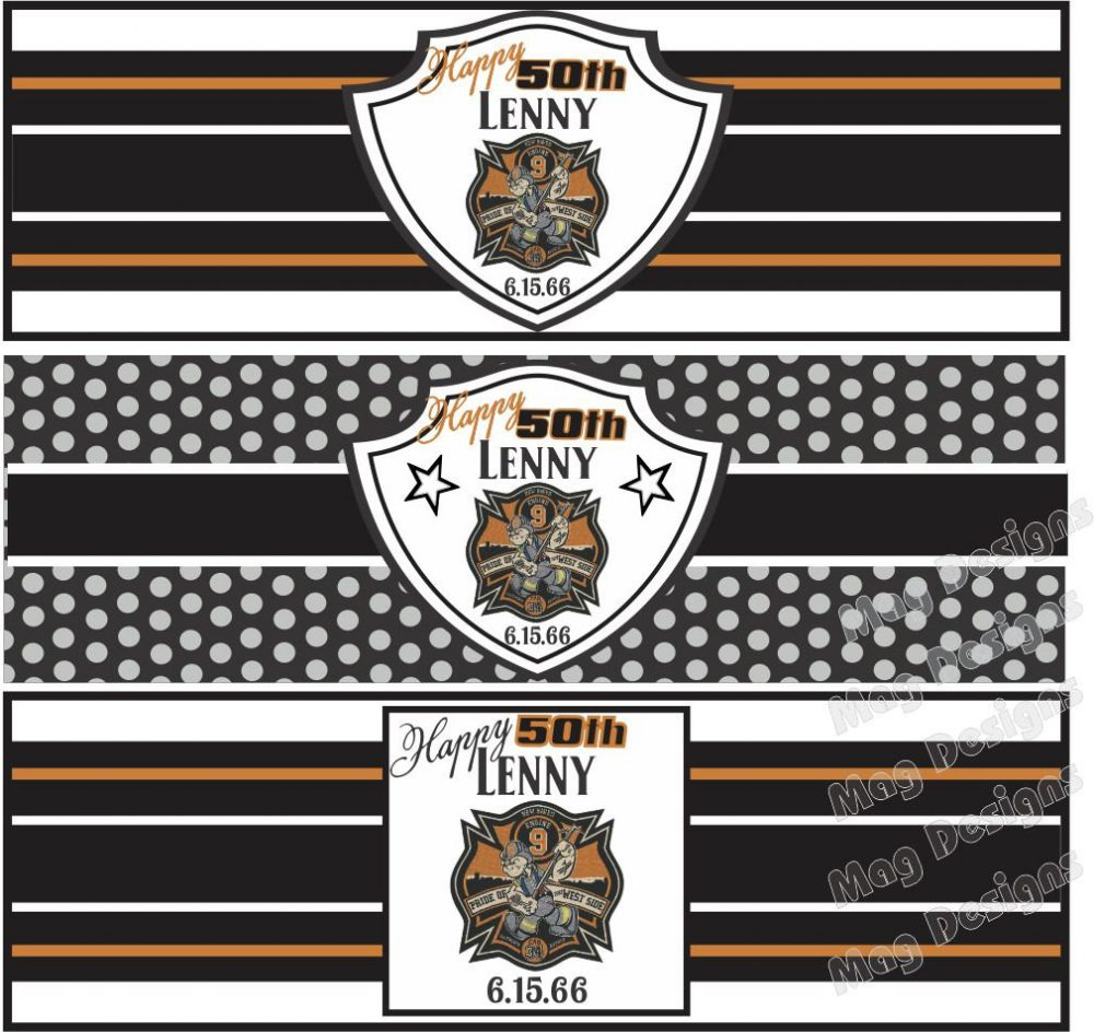 Birthday Cigar Bands - Custom Printed For You Labels Wedding Party Gold & Black Monogram Band