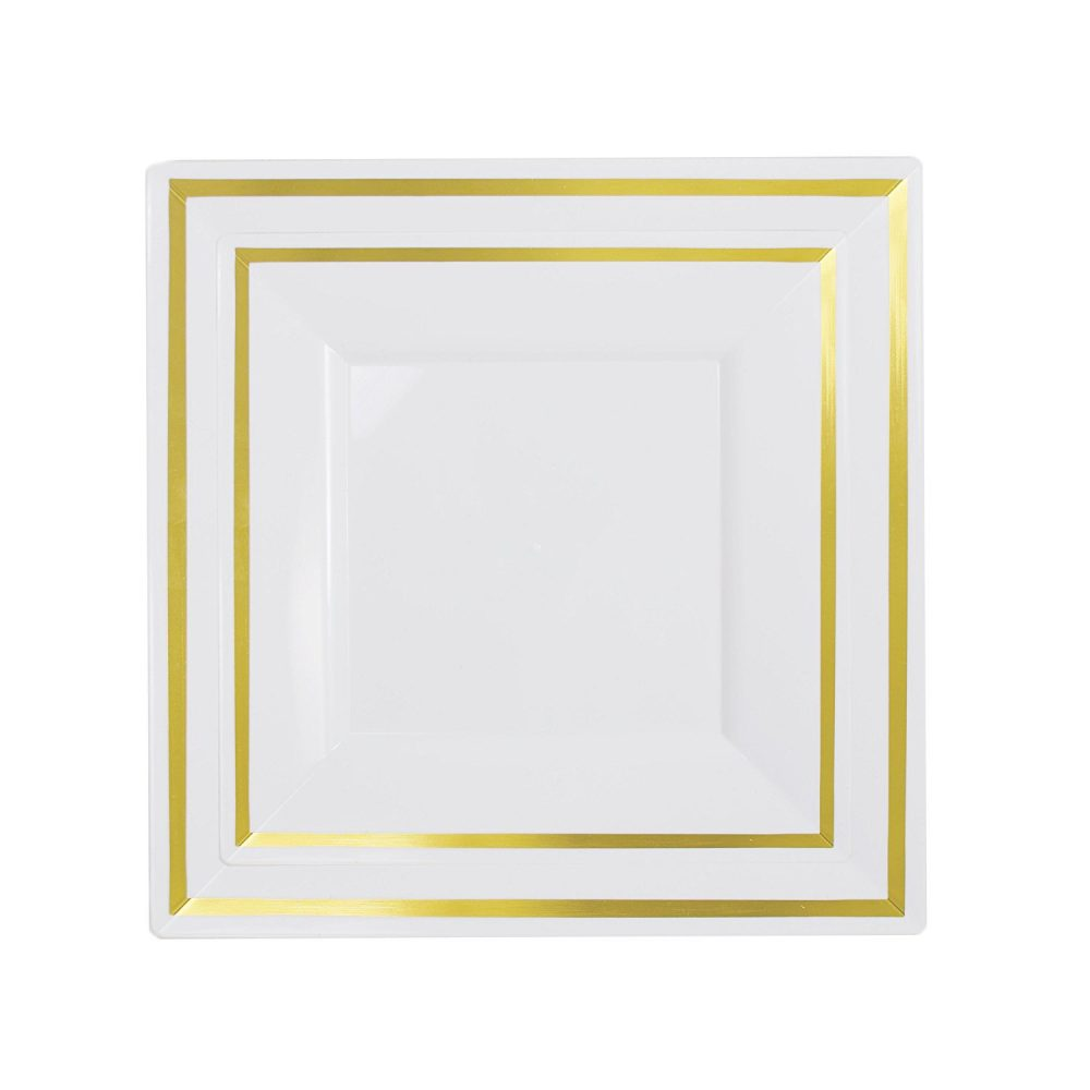 "60-Pack Premium Disposable Plastic Plates Heavyweight Square Plates 30 X 10.25"" Dinner Plates 7.5"" Salad/Dessert Gold"