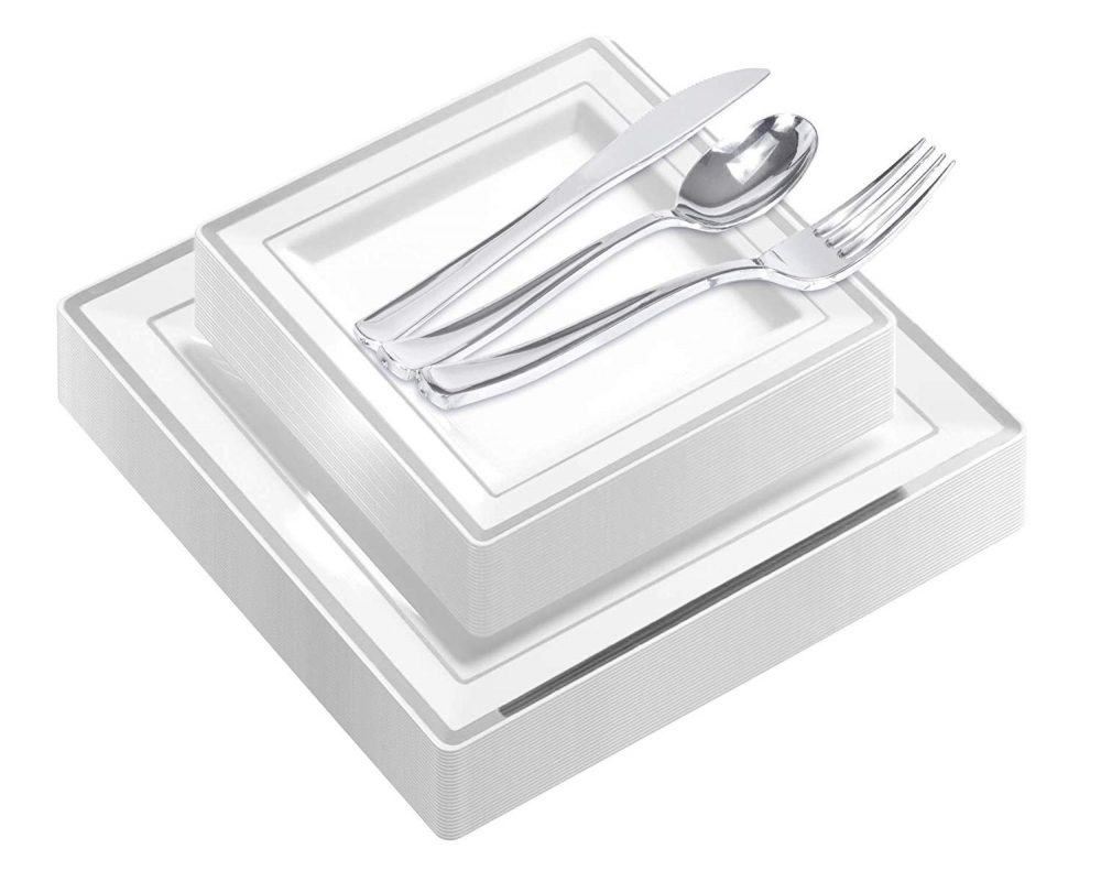 125-Piece Elegant Plastic Plates & Cutlery Set Service For 25 Disposable Place Setting Include Dinner Plates, Dessert