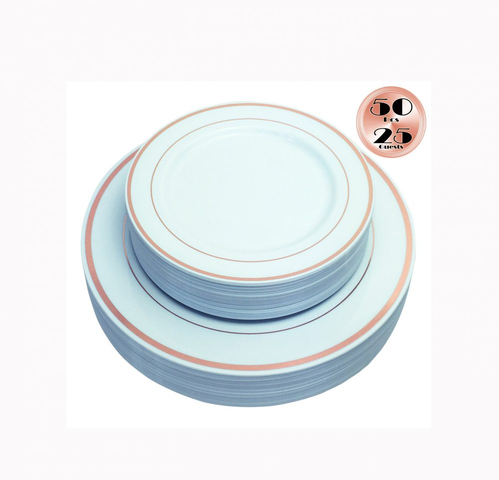 Jl Prime 50 Piece Rose Gold Plastic Plates, Heavy Duty Reusable Disposable Plates For Party, Dinner & Salad/Dessert 25 Each