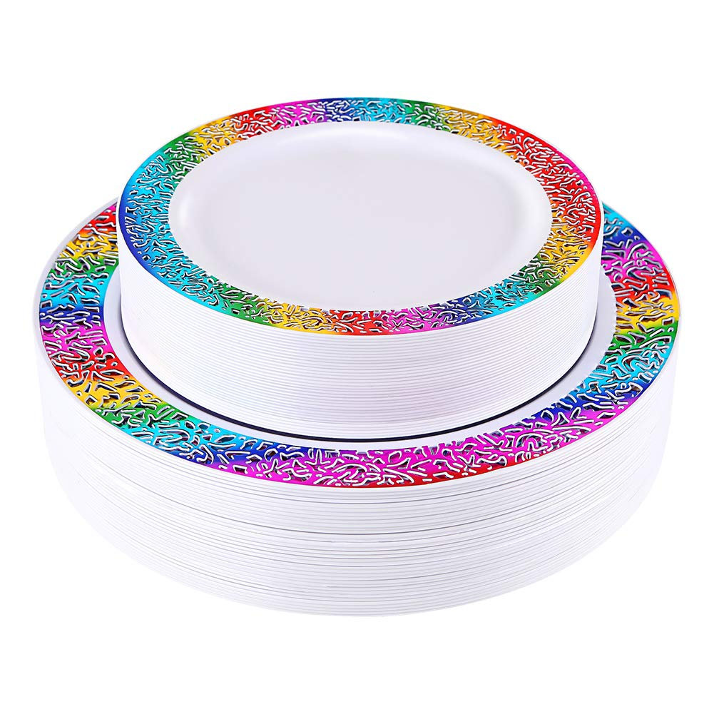 60 Pcs Gold Plastic Plates, Disposable Lace Plates, Rainbow Unicorn Party Theme Birthday Plates 30 Dinner Salad