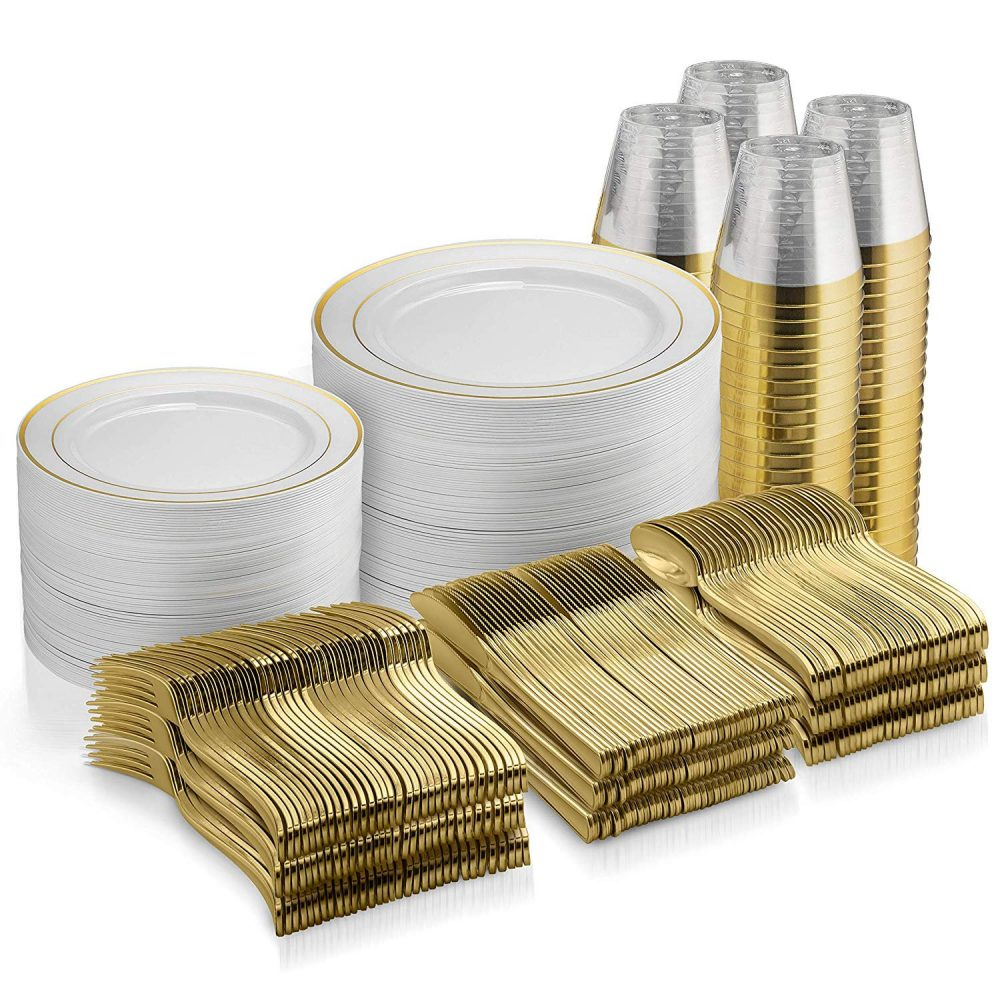 600 Piece Gold Dinnerware Set - 200 Rim Plates 300 Pieces Cutlery 100 Plastic Cups