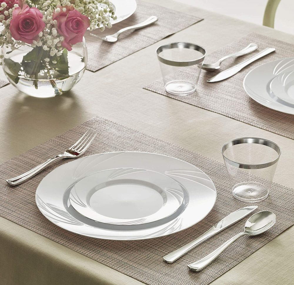Elegant Disposable Plastic Plates Set - 25 Guests 150 Pieces Dinnerware Premium Heavy Duty Plates, Silverware, Cups Pla