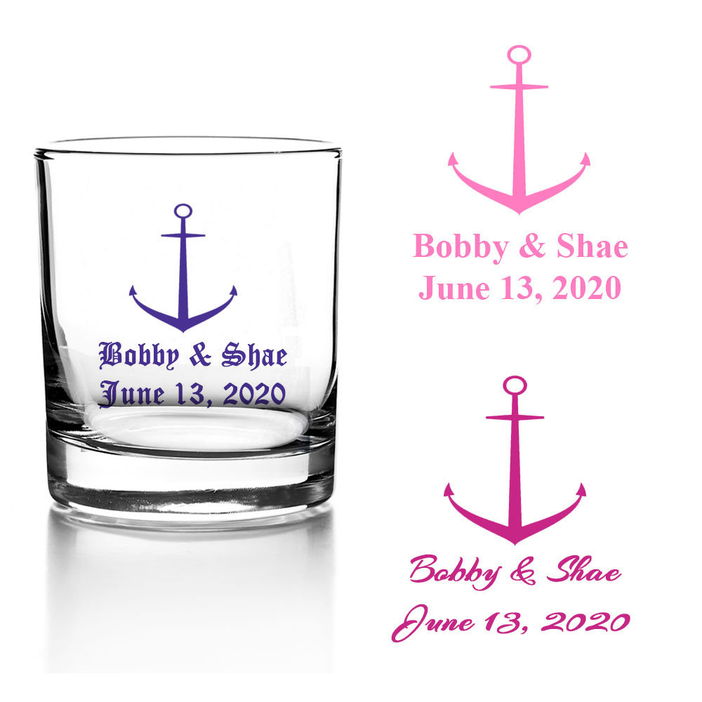 Set Of 24 Personalized Wedding Nautical Anchor Votive Candle Holder Custom Beach Reception Favors Bridal Shower Party V76