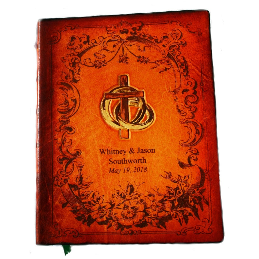 Deluxe Bible Options - Handcrafted Leather Family Bible-Wedding Bible - Cross & Rings