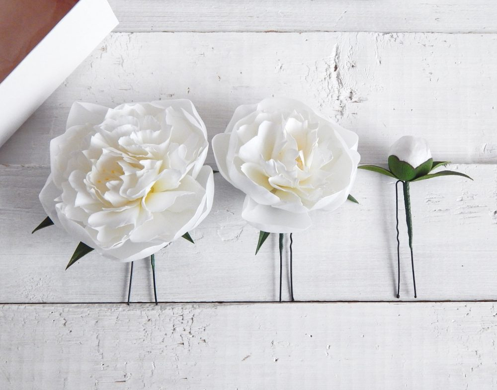 White Peony Floral Hair Pins Bridal Flower Piece Peony Wedding Hairpiece Bridesmaid Headpiece