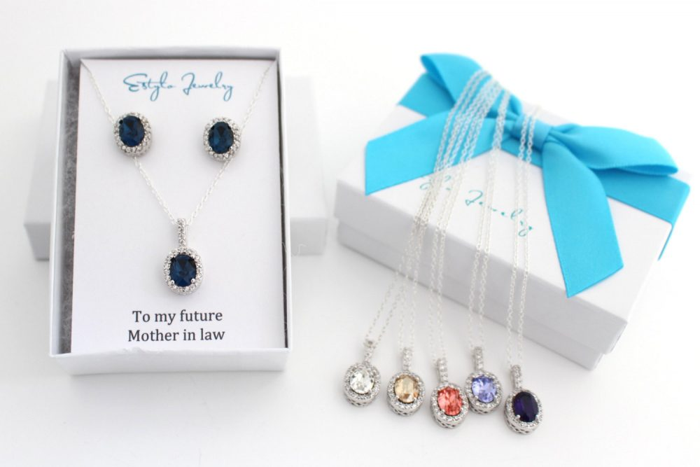 Mother Of The Groom Gift From Bride, Blue Necklace & Earring Set, Jewelry Set Future in Law